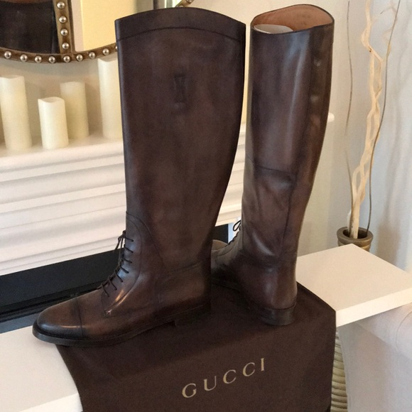8c8c495d1 Gucci Shoes | Dark Brown Boulanger Equestrian Laceup Boot | Poshmark